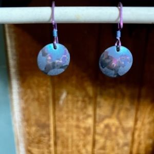 Blue & Purple Niobium Circle Dangle Earrings